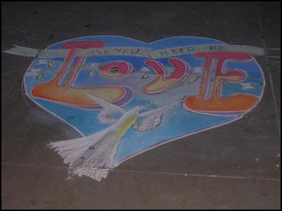 street pavement art in london love